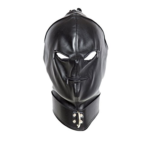 Outtymate Leather Full Face Gimp Mask Unisex Hood Zipper Eyes Mouth Lace Up Back (Gimp Halloween Costume)