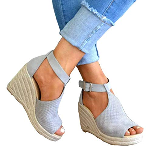 Ru Sweet Women's Espadrille Wedges Sandals Peep Toe PU Belt Buckle Blocking Adjustable High Platform Ankle Strap Summer Shoes ()