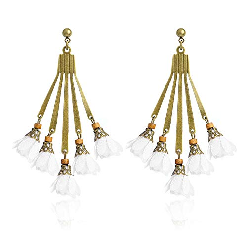 - YY Cherry Dangle Earrings 11 Colors Fabric Flower Bronze Chandelier Charm Pendant Bohemian Earrings,White