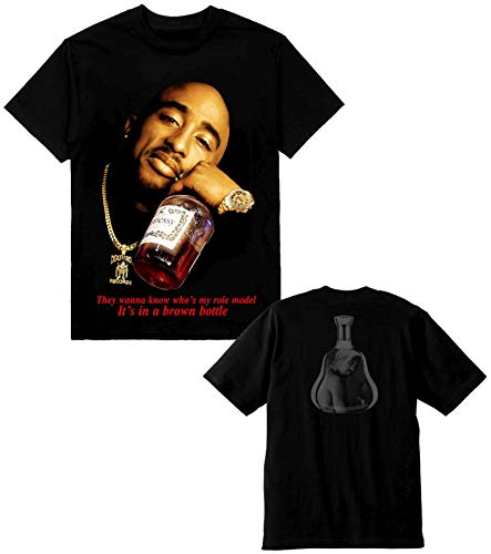 (2pac Henny Mens Heavyweight T-Shirt Printed On Shaka Wear Tee (3X) Black)