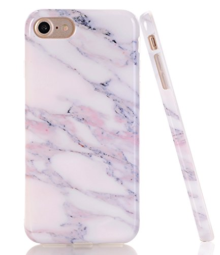 BAISRKE White Pink Marble Design Clear Bumper TPU Soft Rubber Silicone Cover Phone Case Compatible with iPhone 7 (2016) / iPhone 8 (2017) [4.7 inch]