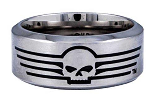 Harley-Davidson Mens Willie G Skull Lines Stainless Steel Band Ring HSR0027 (10) ()