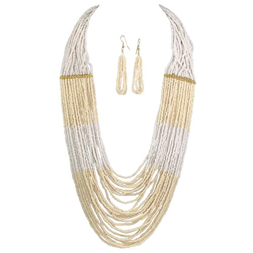 Long BOHO Chic Multi Row Layered Seed Bead Statement Necklace and Dangle Earring Set (Cream Tones) Cream Round Necklace