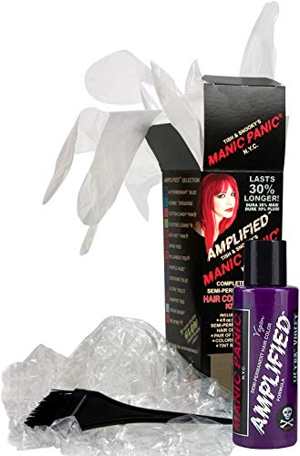 Manic Panic Ultra Violet Amplified Hair Coloring Kit, Vegan Semi-Permanent Hair Ultra Violet Dye Cream, 3X Pigments & Last 30% Longer Than Classic Voltage (6-8 Weeks), PPD & Ammonia-free, Ready to Use (Pastel Hair With Manic Panic Ultra Violet)