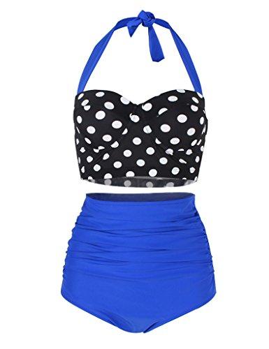 JOYMODE Women's Halter Neck Double Up Tankini Top Bikini Swimwear Size M