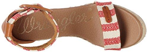 Wrangler Kay Sandal Stripes - Sandalias Mujer Rot (RED/OFF WHITE)