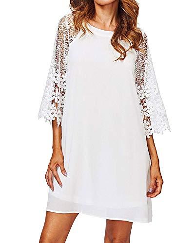 ZANZEA Women Tunic Dress Lace Crochet Patchwork Flared Sleeve Loose Casual Summer Long Tops Shirt Mini Dresses White L