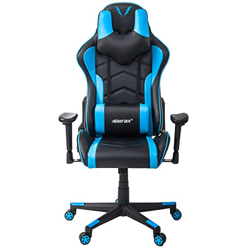 Merax Gaming Chair Racing Style Ergonomic High Back PU Leather Chair with Adjustable Armrest (Blue)