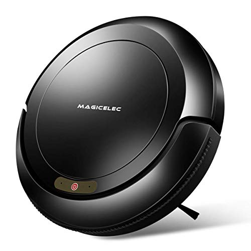 Magicelec Robotic Vacuum Cleaner, 1300Pa Strong Suction,Drop-Sensing Technology, Cleans Hard Floors Thin Carpet (Black)