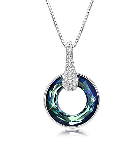 Sllaiss Blue Circle Crystal Necklace for Women Round Simple Pendant Necklace for Girls, Made from Swarovski Crystals Gift for Her