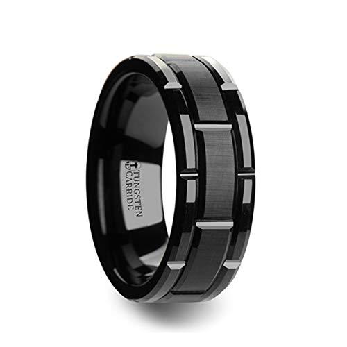 - Thorsten - Windsor Beveled Black Tungsten Carbide Wedding Band with Brush Finished Center and Alternating Grooves - 8 mm
