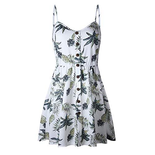 Summer Dresses for Women Sleeveless Backless Pineapple Print Button Down A Line Pleated Swing Hem (L, White)