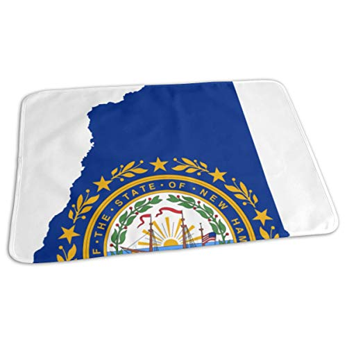 Vicrunning Flag Map of New Hampshire.SVG Breathable Waterproof Mattress Bed Pad Diaper Absorbent Urine Pads for Baby Toddler Children