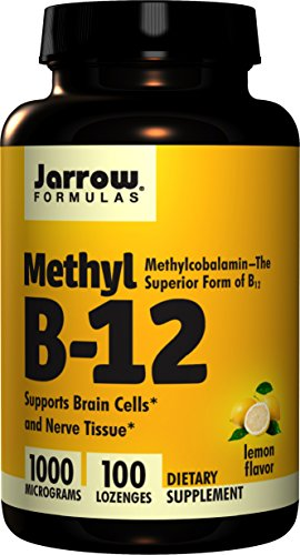 Jarrow Formulas Methylcobalamin (Methyl B12), Supports Brain Cells and Nerve Tissue, 1000 mcg, 100 Lozenges (Best Vitamin B12 Methylcobalamin)