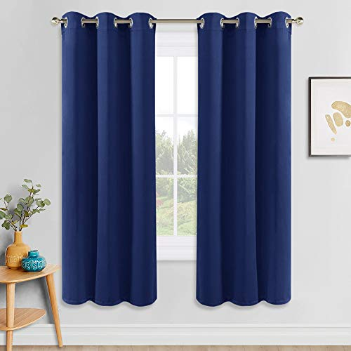 PONY DANCE Blackout Draperies Curtains - Bedroom Blue Panels Home Fashion for Solid Light Blocking Window Treatments Thermal Insulated Drapes for Kids' Room, 42 W x 72 L, Purplish Blue, One Pair