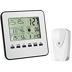 AMIR Wireless Weather Station, Digital Indoor Outdoor Thermometer Hygrometer, Remote Sensor, Home Weather Forecaster Station, Humidity, Clock, Alarm Clock