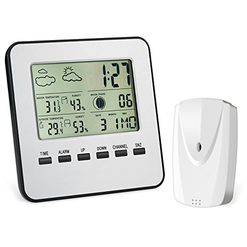 AMIR Wireless Weather Station, Digital Indoor Outdoor Thermometer Hygrometer, Remote Sensor, Home Weather Forecaster Station, Humidity, Clock, Alarm (Weather Station Clock Displays)