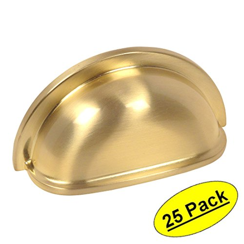 Cosmas 4310BB Brushed Brass Cabinet Hardware Bin Cup Drawer Handle Pull - 3'' Inch (76mm) Hole Centers - 25 Pack by Cosmas