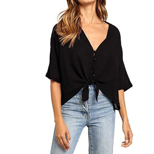 (ERLOU T-Shirts Women's Summer Plaid Knot Printing Button V-Neck Half Sleeve Tunic Tank Tops Blouse (Black, S))