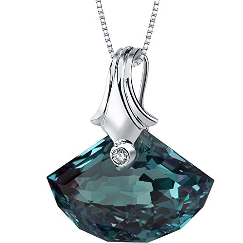 21.00 Carats Simulated Alexandrite Pendant Sterling Silver Rhodium Nickel Finish Shell Cut