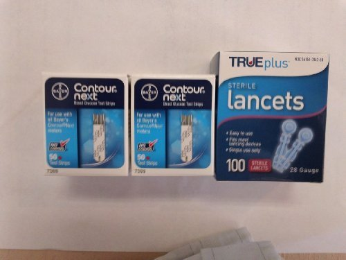 Contour Next Test Strips, 2 Boxes of 50, With 28g Lancets by