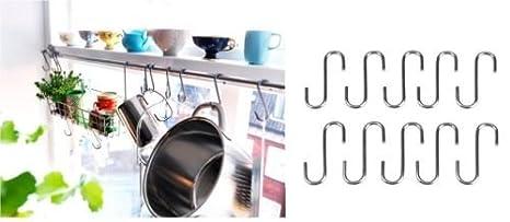 IKEA BYGEL - 10 S ganchos para colgar Pot Pan Hanger Utensilios garaje cobertizo jardín: Amazon.es: Bebé