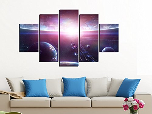 PulsatingFingertip-5 Panel Purple Colourful solar system planets Earth Oil Painting Canvas Prints Home Decoration No Frame by PulsatingFingertip