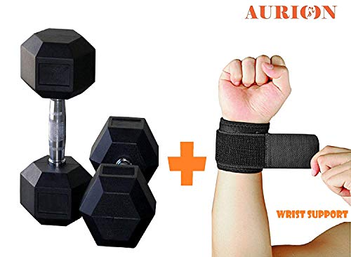 Aurion Rubber Hexagonal Hex Dumbbells Weight Set Solid 1 KG to 20 KG (Pairs) with Wrist Support