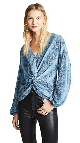 (Ramy Brook Women's Printed Averie Top, Slate Blue Combo, Small)