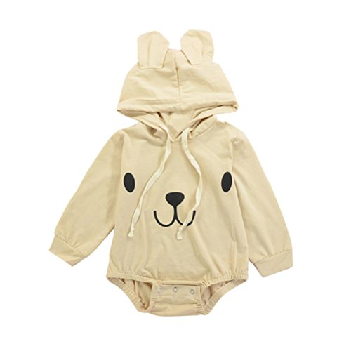 Fineser TM Infant Baby Boy Girl 3D Ear Bear Hooded Romper Jumpsuit Newborn Boby Playsuit Outfits Clothes (Beige, 3M)