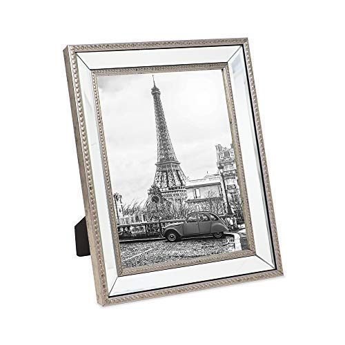 Isaac Jacobs 8x10 Champagne Mirror Bead Picture Frame - Classic Mirrored Frame with Dotted Border Made for Wall Display, Tabletop, Photo Gallery and Wall Art (8x10, Champagne)