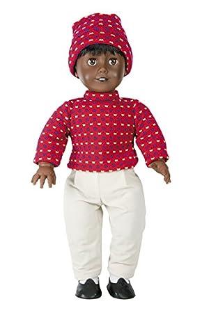 Belonil Adolescent Dolls, muñeco negro con ropa de invierno roja (The Doll Factory Europe