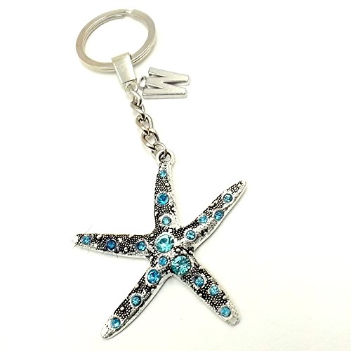 Aqua Starfish Nautical Unisex Keychain Personalized Car Pocket Pocketbook Accessory Initial Ocean Lovers ()