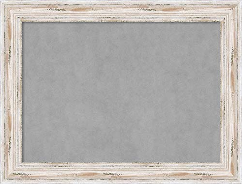 Amanti Art Large, Outer Size 33 x 25 Alexandria White Wash Framed Magnetic Boards