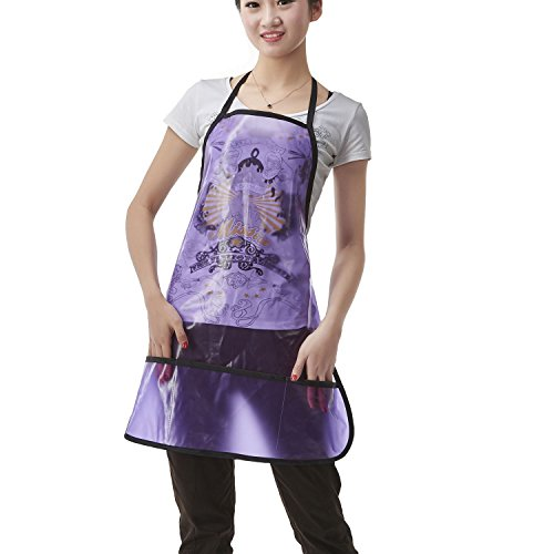 New Colorfulife Professional Salon Apron Hair Stylist Hairdressing Dyeing Wrap Cape, Adjustable Transparent Barber Aprons with 2 Pocket T013 (Purple) for sale