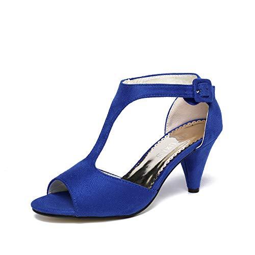 (GATUXUS Women Open Toe Ankle T-Strap Kitten Heel Mary Jane Shoes Mid Heel Sandals (Royal Blue, 10 B(M) US))
