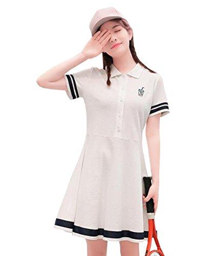 DuWei (ドゥウェイ) レディース テニスウェア 半袖ゲームシャツ ワンピース スポーツウェア 運動着 ゴルフウェア 体型カバー可愛い ジャージ カジュアル