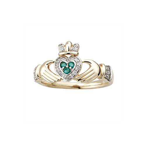14K Gold Claddagh Ring Diamond & Emerald Irish Made-Size 8