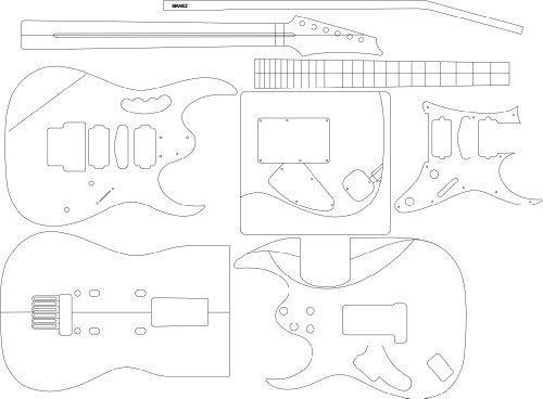 Electric Guitar Layout Template - Jem