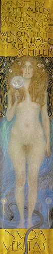 Klimt (Nude Veritas, 1899) Canvas Art Print Reproduction (28x5.9 in) (71x15 cm)