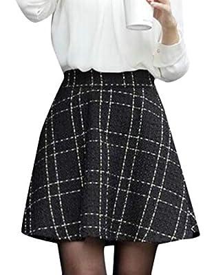 Jofemuho Women Elastic Waist Fall Winter A-Line Woollen Blend Swing Plaid Check Mini Skirt