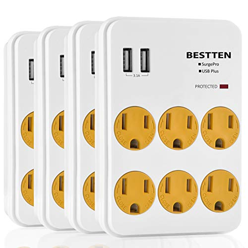 [4 Pack] BESTTEN Multi-Functional Wall Mount Surge Protector, 6 Electrical Outlet and 2 USB Charging Ports (2.4A/Port, 3.1A Total), Safety Cover, ETL Certified