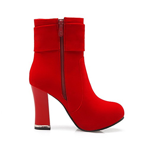 Women's Round Closed Toe No-Heel Frosted Low-Top Solid Boots