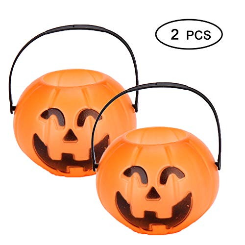 Halloween Pumpkin Buckets - Halloween Trick or Treat Basket for Party Favors Jack-O-Lantern, Halloween Candy Bucket (2 Pack Small Halloween Decoration Buckets) -