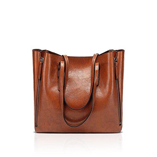 NICOLE & DORIS Carteras y bolsos de las señoras del diseñador del cuero de la PU de las señoras Verde Marrón