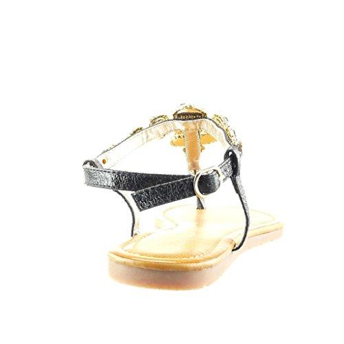 Angkorly - Chaussure Mode Sandale Tong salomés femme bijoux strass diamant Talon plat 1.5 CM - Noir