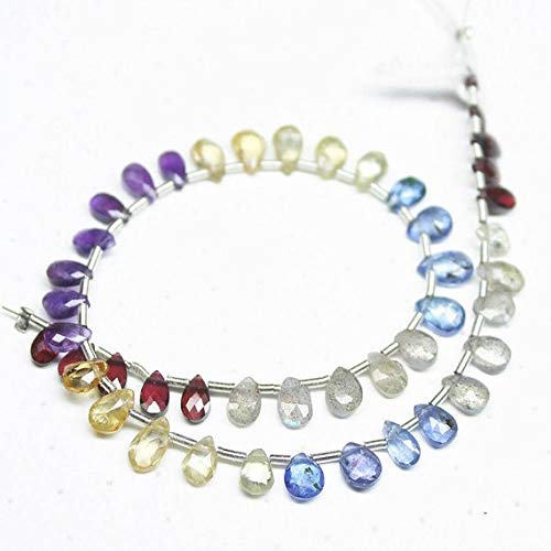 Beads Bazar Natural Beautiful jewellery Natural Multi Stones Faceted Pear Drop Gemstone Craft Loose Beads Strand 8