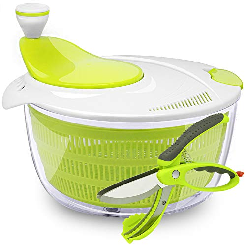 Salad White Spinner (Kasonic Salad Spinner with Vegetable Scissors - Large Capacity; BPA Free Certified; Easy Spin for Tastier Salads & Dishwasher Safe (Green and White))