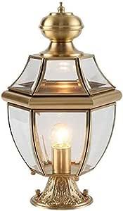 Mopoq All-copper Headlight Wall Light Outdoor Patio Light Villa Waterproof Home Door Post Lamp Retro Industrial E27 Lighting Street Pillar Porch Floor Lights Glass Stigma Column Lamp