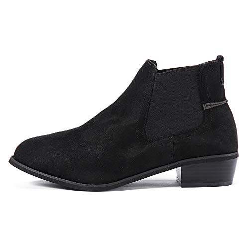 HYIRI Vintage Slip-On Booties, Women Square Heel Suede Snow Boots Round Toe Shoes Black